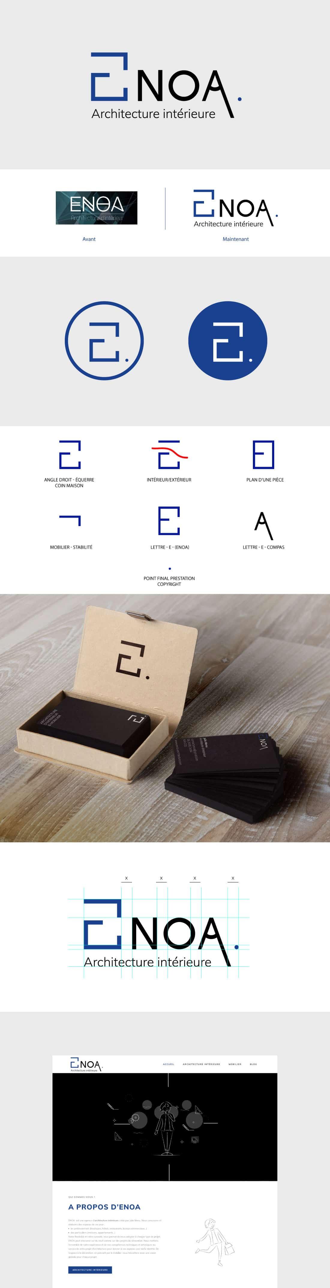 identité visuelle et communication de ENOA architecture intérieure par Eklos à Nantes
