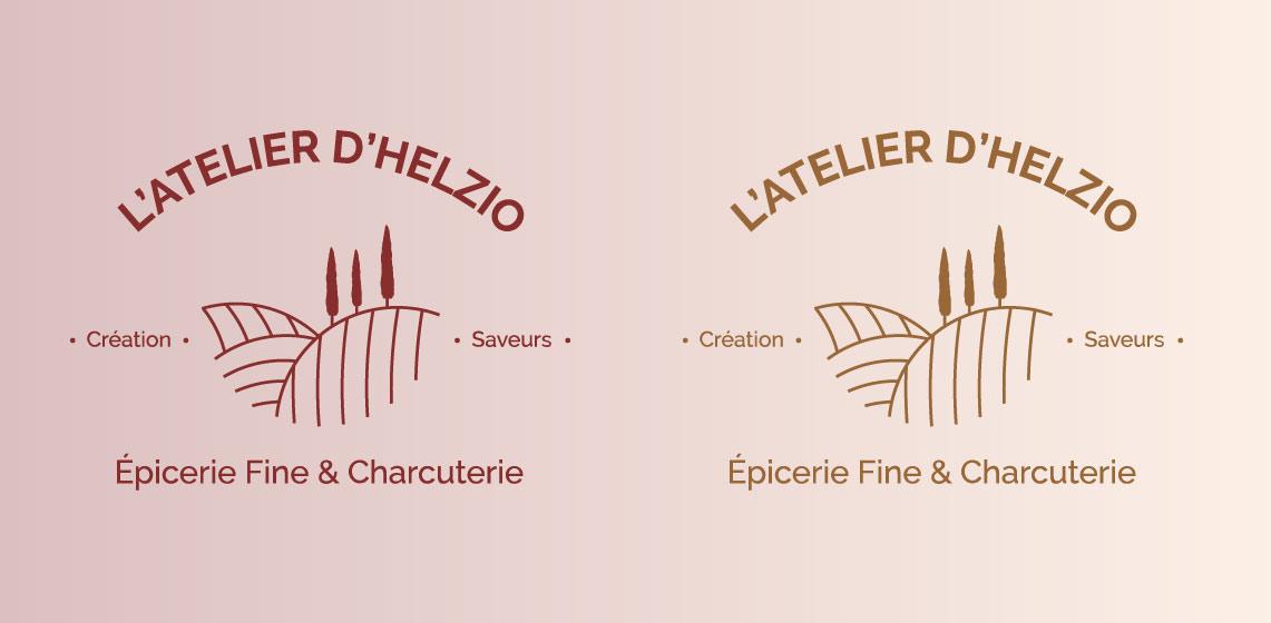 déclinaisons couleurs du logo de l'épicerie en ligne l'atelier d'helzio
